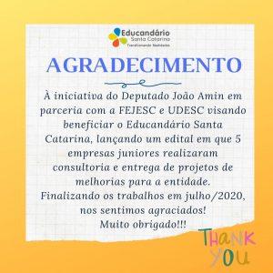 Agradecimento ao Dep. João Amin